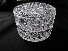 Antique Round Cut Crystal Dresser, Jewelry Box