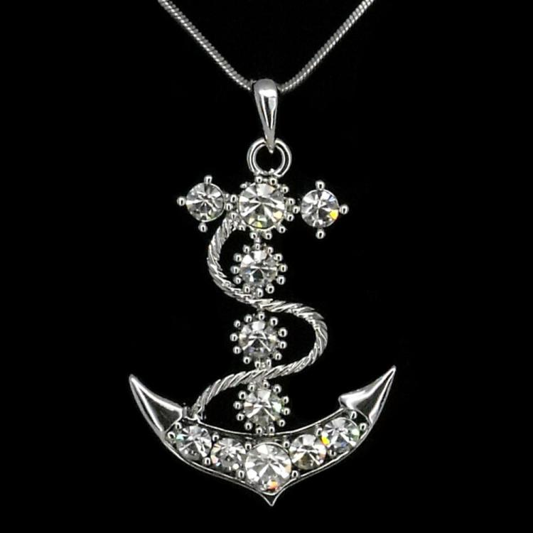 Smooth sailing anchor necklace pendant jewelry 18k w gp aust for Jewelry stores bluffton sc