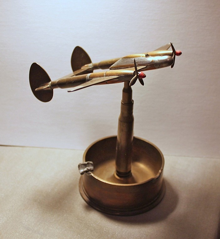 Large World War II Trench Art Airplane Ashtray