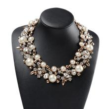 Czech Crystal & Faux Pearl Chunky Collar Choker Statement Necklace
