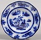 Flow Blue Ironstone Soup Plate, marked