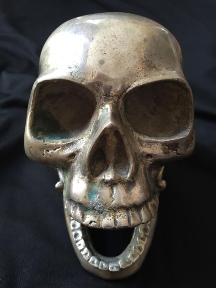 Chrome Articulated Sculpture, Skeleton Skull