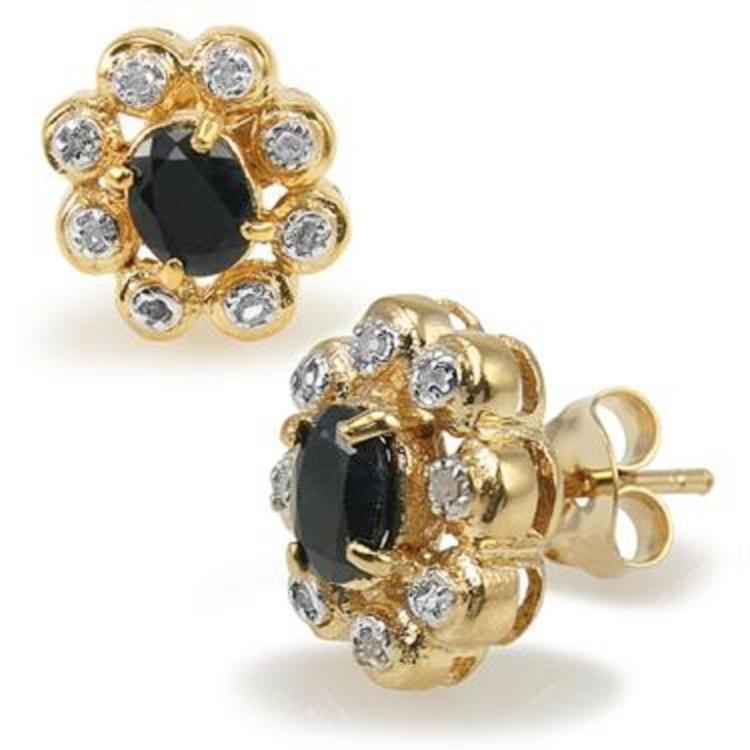 2.65ctw Black Sapphire & Diamond Earrings