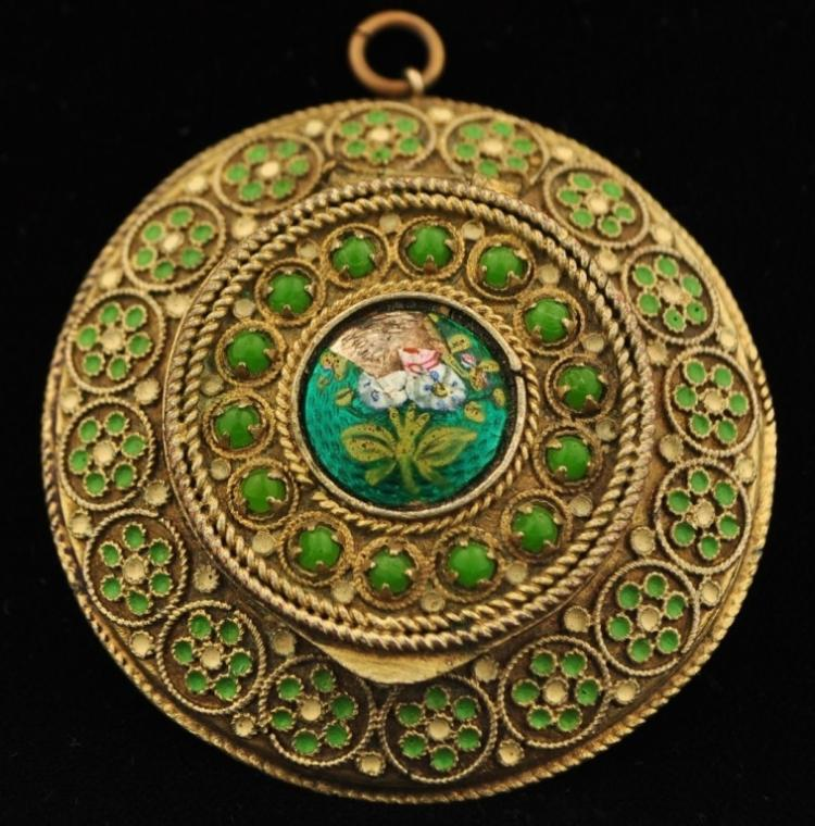 French Enamel Filigree Mirror Box Pendant