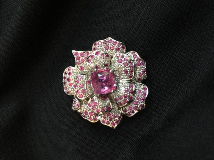 Pink Sapphire & Diamond 18kt Floral Brooch Pendant