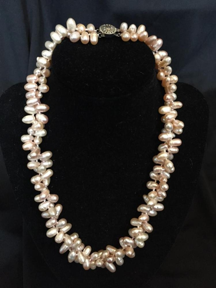 Pink  Akoya Baroque Pearl Necklace