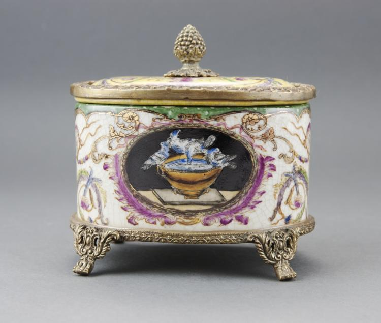 Porcelain & Bronze Bird Bath Trinket Box