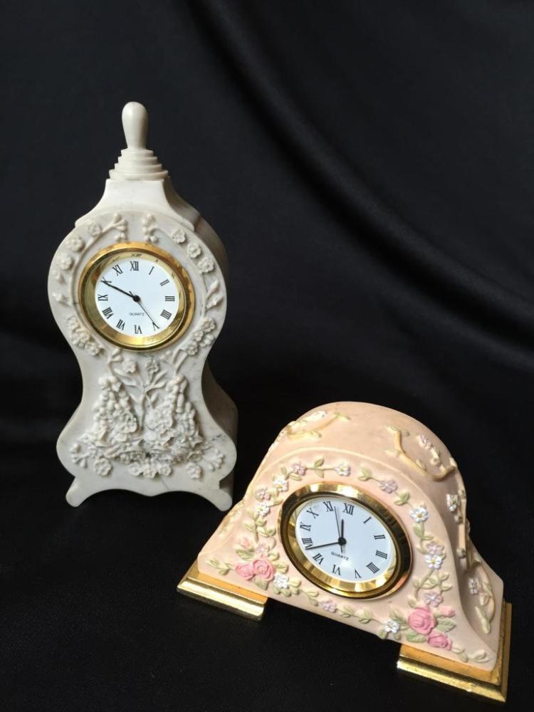 Pair of Miniature Floral Travel Clocks