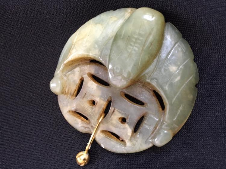 Antique Chinese Jade Fu Bat Fortune Pendant