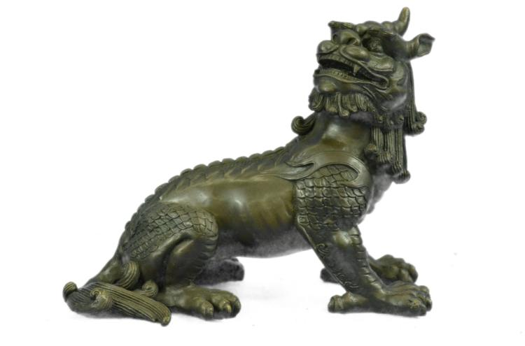 Chinese Foo Dog Guardian Bronze Sculpture