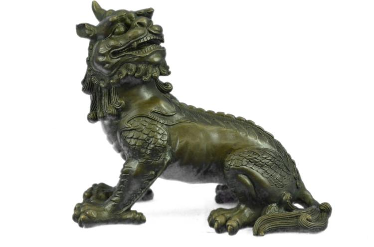 Chinese Foo Dog Guardian Lion Bronze Sculpture