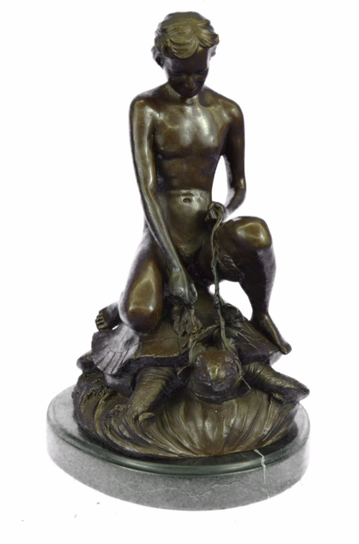 Little Boy Riding a Sea Turtle Bronze Sculpture