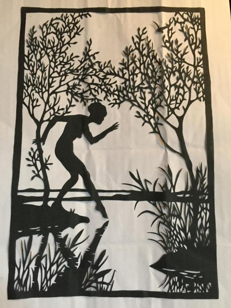 Hand-made Paper Cut Silhouette, Art Deco Nude