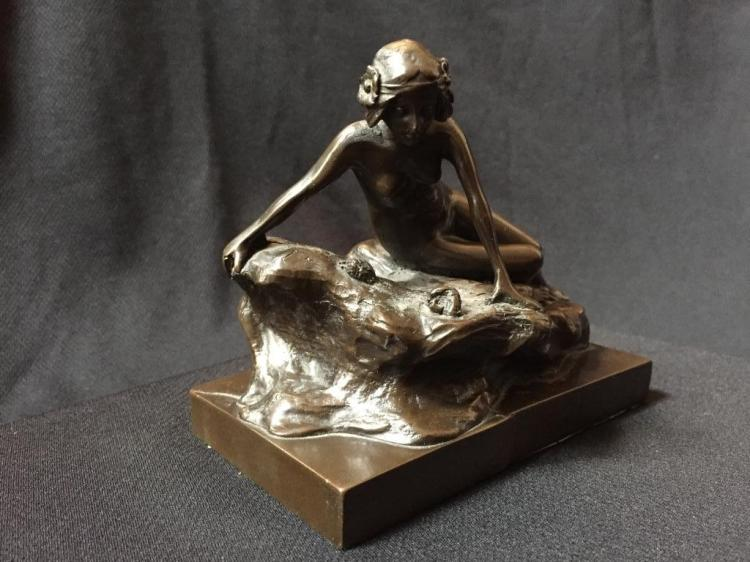 Early 1900's Art Nouveau Nude Bronze Sculpture