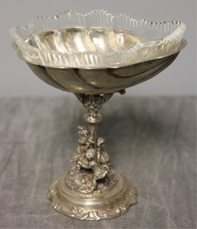19thc Continental Silver & Crystal Master Salt