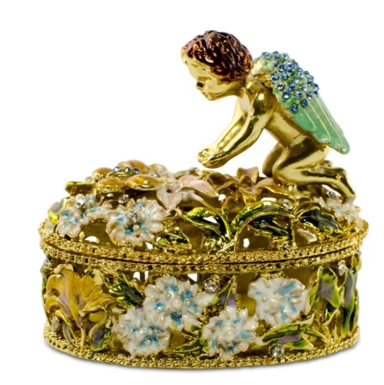 Golden Cherub Enamel Crystal Jewelry Box