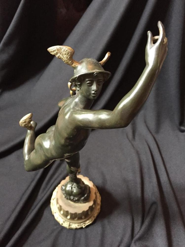 1920's Mercury Hermes Caduceus Bronze Statue