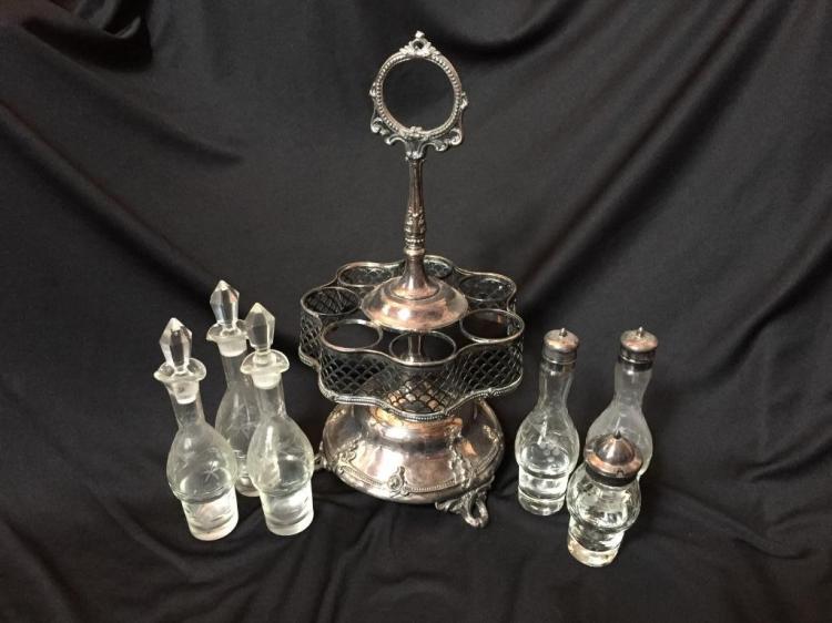 Victorian English Silver Plate Cut Glass Cruet Set