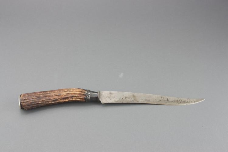 German Silver Engraved Stag Antler Carving Knife