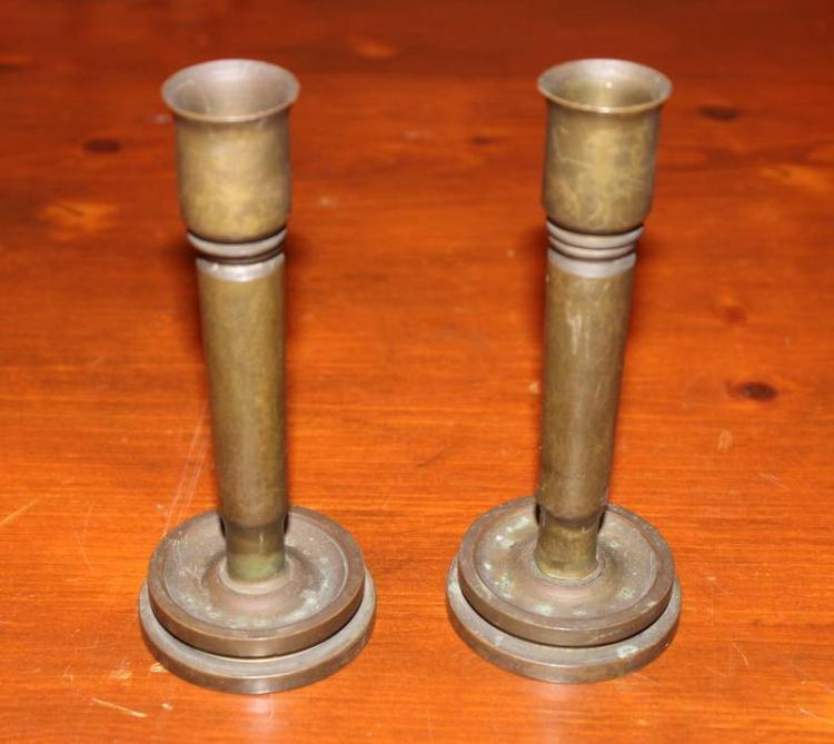Pair of World War II Trench Art Candle Sticks