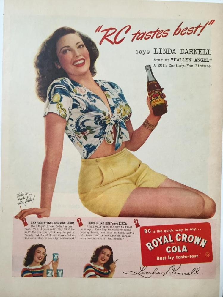 1945 Royal Crown RC Cola  Linda Darnell Ad