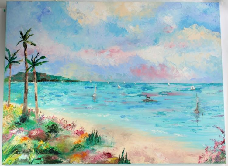 Signed Beach Painting, Malcom Forbes Collection