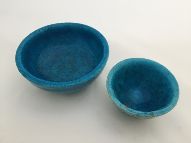 Signed Lachenal Persian Blue Pottery Bowls