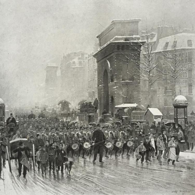 19thc Photogravure of Paris, Marching Regiment