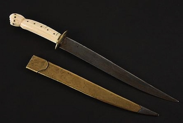 19thc Hand-carved Walrus Tusk Handle Dagger