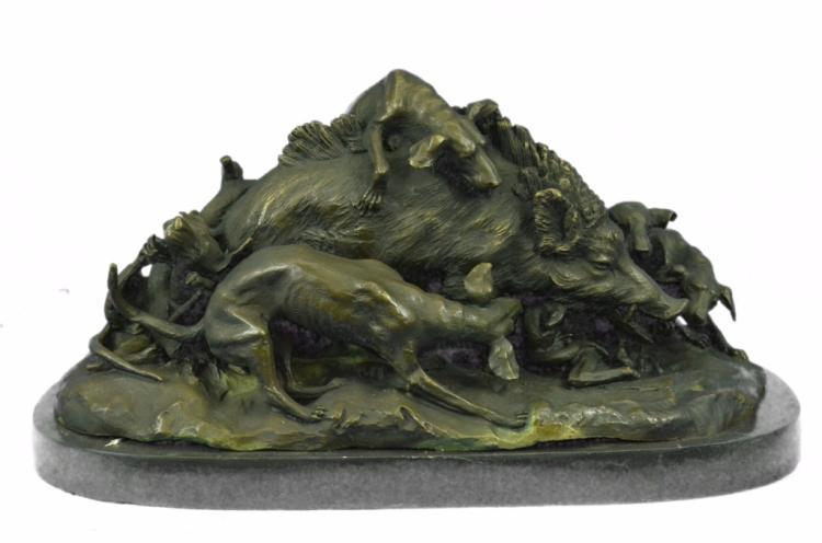 After Lecourtier, Wild Boar & Dogs Sculpture