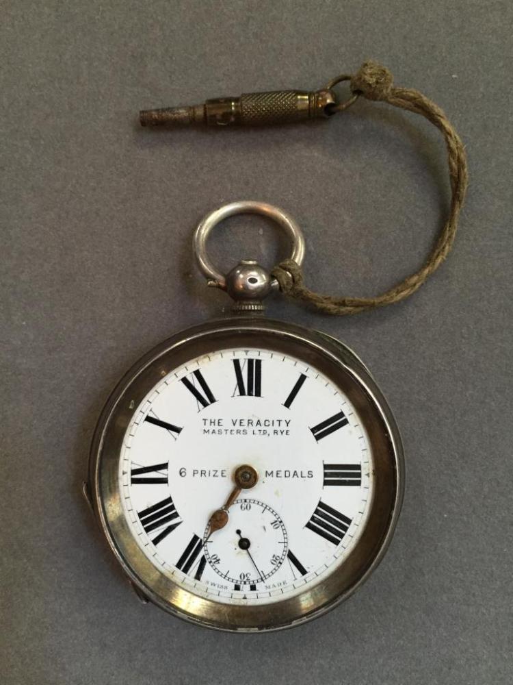 Late 19thc English Sterling Key Wind Pocket Watch