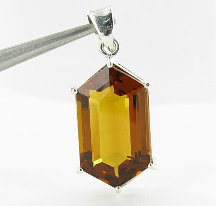 53.35ct Madeira Citrine Honeycomb Shaped Pendant