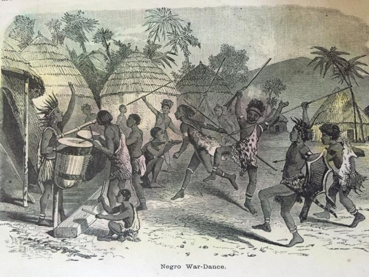 19thc Hand-colored Engraving, African War Dance