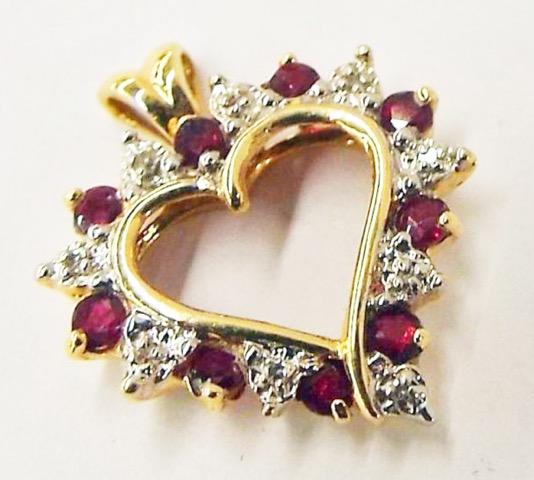 Ruby & Diamond 14kt Gold Pendant