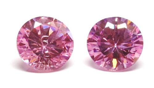 Two Matching 4ct Round Pink BIANCO Diamonds