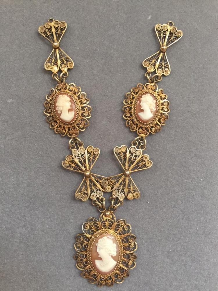 Italian Gilt Filigree Triple Cameo Necklace