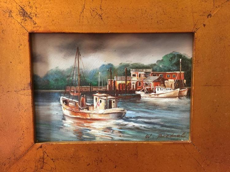 Signed Oil Painting, Fishing Boats