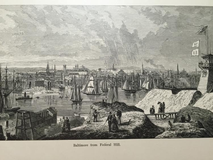 19thc Engraving, Baltimore From Federal Hill