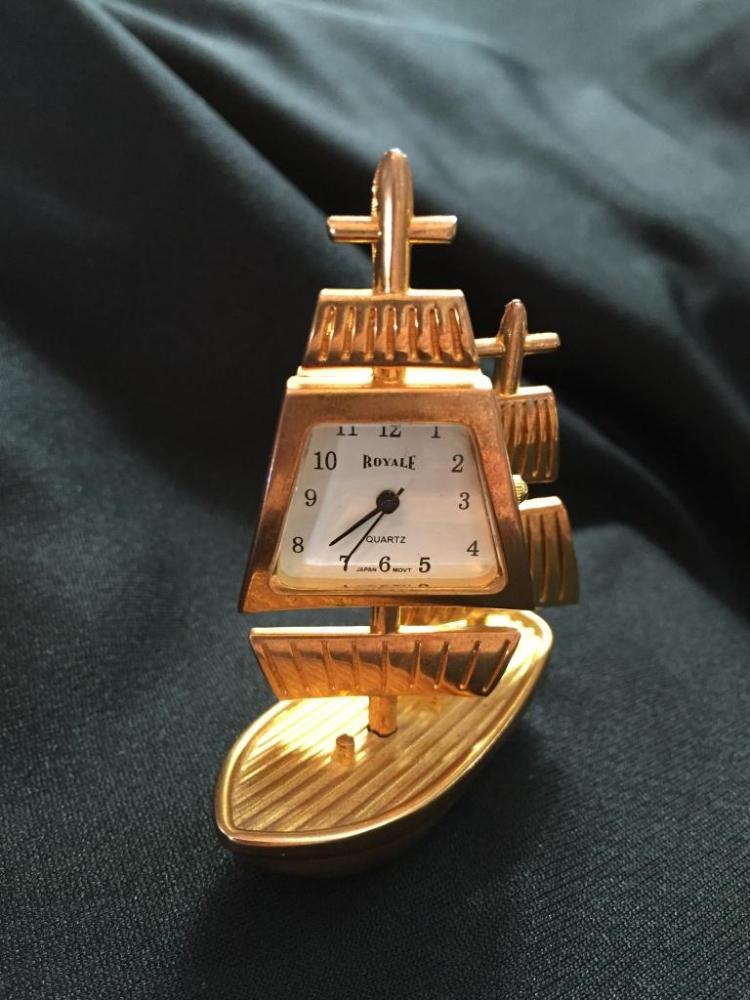 Miniature Brass Travel Clock, Sailing Ship