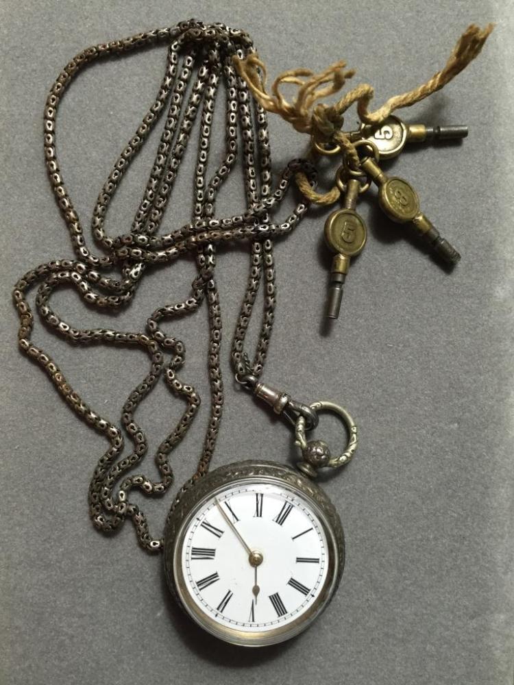 19thc German Silver Fob Watch & Chain