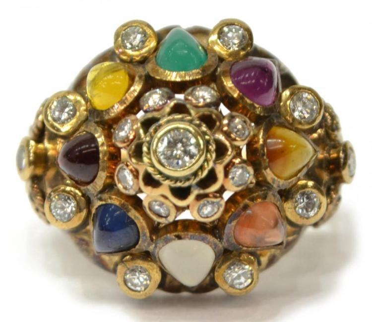 18kt Gold, Diamond & Gemstone Princess Ring