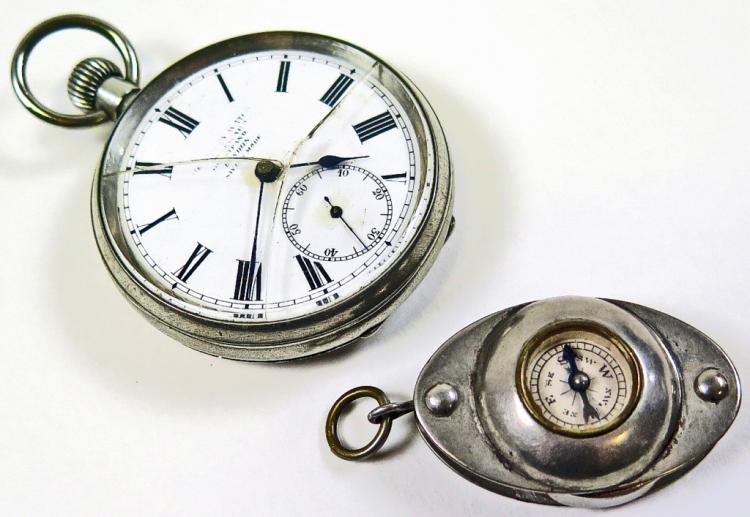 19thc Nickel Pocket Watch & Compass