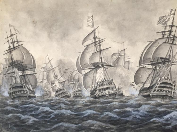 19thc Signed Watercolor Painting, Naval Battle
