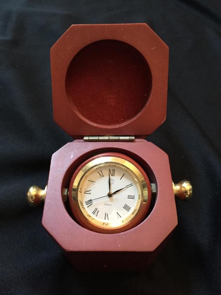 Wooden Rotating Travel Trinket Box Clock