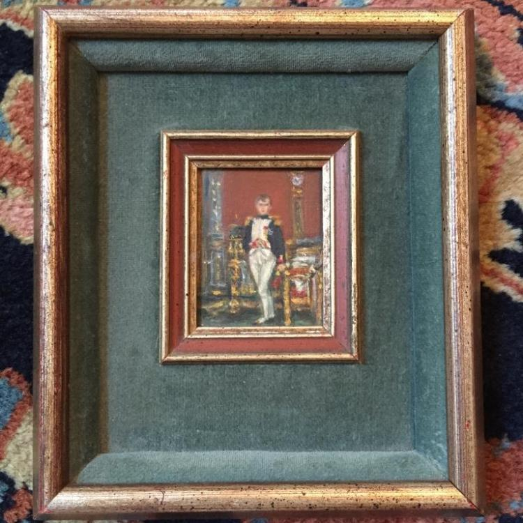 Early 20thc Miniature Oil Painting of Napoleon