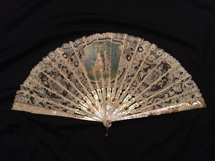 19thc French Mother of Pearl Silk & Lace Opera Fan