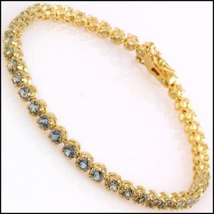 Blue Topaz Gold Tennis Bracelet