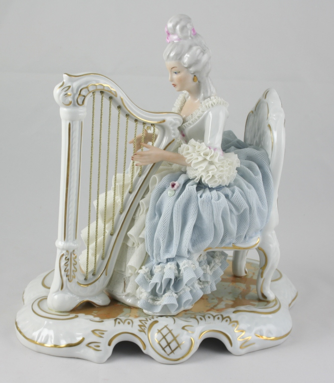 Large Vintage Dresden Sandizell Lady Playing Harp