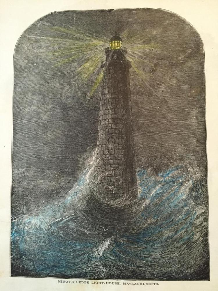 19thc Engraving, Minot's Ledge Light-House, MA