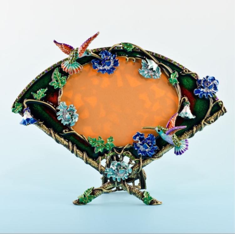 Enamel & Crystal Hummingbird Floral Fan Frame